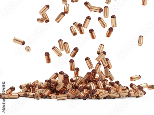 Falling Gun Bullets on white background