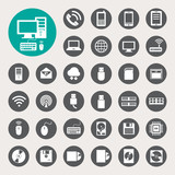 Mobile devices , computer and network connections icons set.