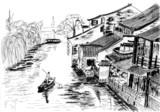 Fototapety sketch The river village wuzhen