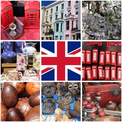 Collage of images of Portobello Road Market in London UK