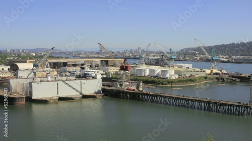 Industrial Shipyard with Cranes in Swan Island Oregon
