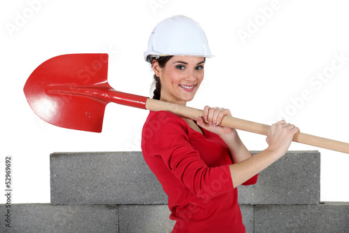Woman with shovel