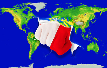 Fist in color  national flag of malta    punching world map