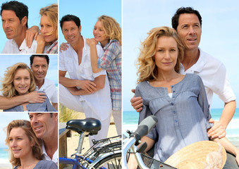 Couple enjoying bike ride by the coast