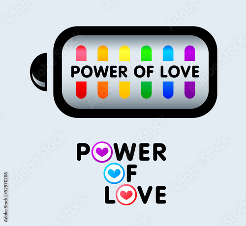 Power of love sticker concepts for gay pride events