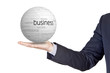 businessman with conceptual sphere