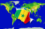 Fist in color  national flag of senegal    punching world map