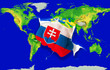 Fist in color  national flag of slovakia punching world map