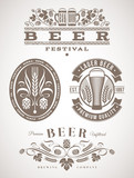 Fototapety Beer emblems and labels - vector illustration