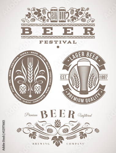 Beer emblems and labels - vector illustration - 52971663
