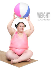 Funny woman with beach ball.