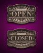 Open and Closed wooden ornate vintage signs