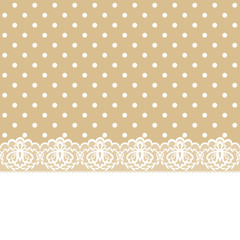 lace and ribbon on polka dot fabric