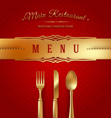 Menu cover with golden cutlery and decorative elments