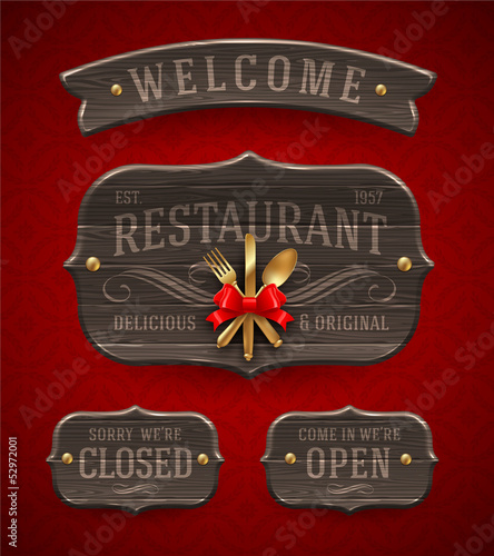 Vintage Restaurant signs with decor and golden cutlery