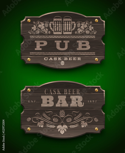 Vintage wooden signs for Pub and Bar