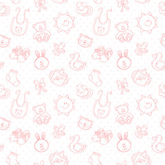 Baby toys cute cartoon set seamless pattern © Yulia