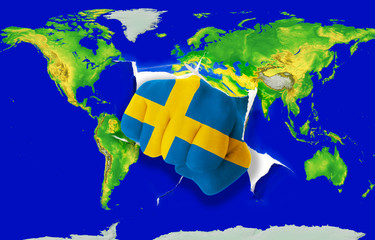 Fist in color  national flag of sweden    punching world map