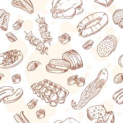 Vintage hand-drawn food set seamless pattern