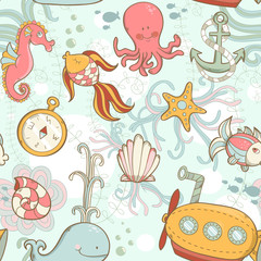 Underwater creatures cute cartoon seamless pattern