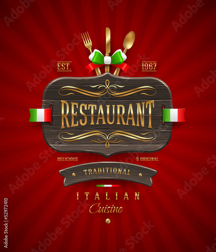 Decorative vintage wooden sign for Italian restaurant