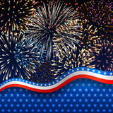 Fototapety American background with fireworks
