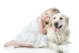 girl embraces a Golden Retriever. looking at camera. isolated - 52972855