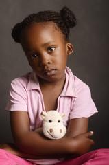 Emotional African girl
