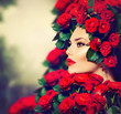 Beauty Fashion Model Girl Portrait with Red Roses Hairstyle
