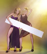 Two sexy young women in dress with board
