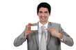 Businessman pointing at card
