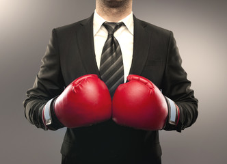 businessman boxing