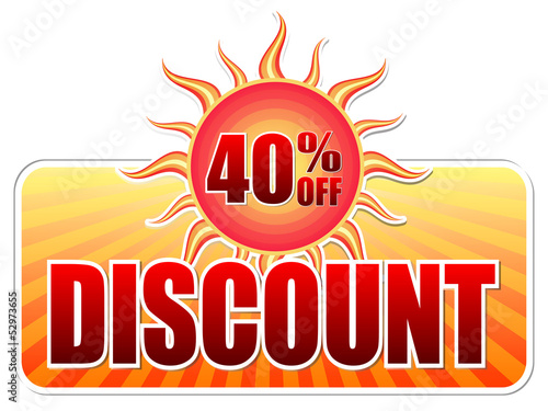 summer discount and 40 percentages off in label with sun