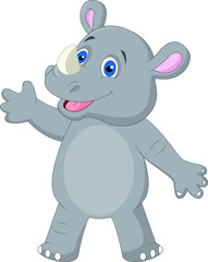 Cute rhino cartoon waving