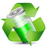 Battery with recycle symbol - renewable energy concept, vector i