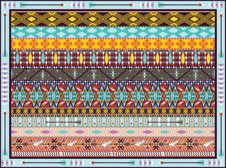 Seamless colorful geometric tribal rug with birds