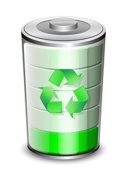 Battery icon with recycle sign, renewable energy concept, vector
