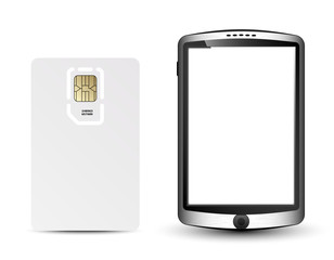 Blank sim card and smartphone in original design, vector Illustr