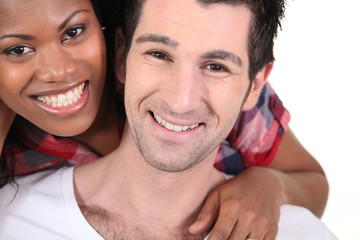 happy interracial couple