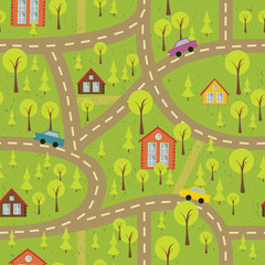 colourful seamless pattern with streets and roads