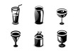 Glossy drinks and beverages icon set