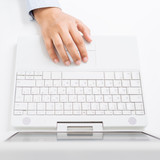 Female hand with laptop