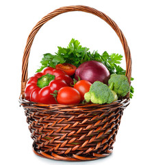 Various vegetables in a brown basket