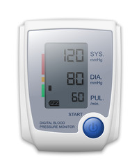 Digital blood pressure monitor front view, vector illustration