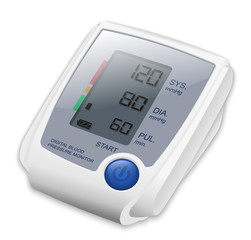 Digital Blood Pressure Monitor, Vector Illustration