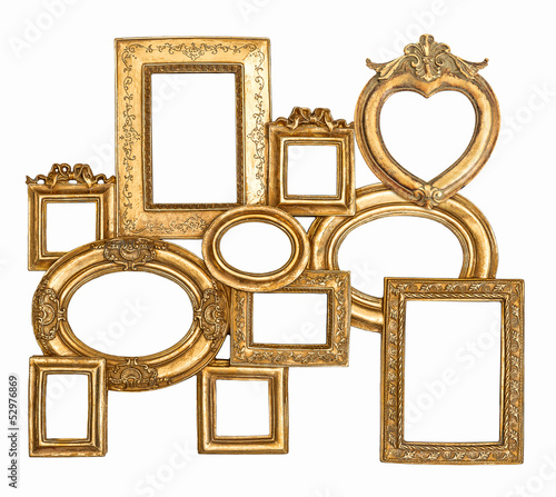 antique golden framework isolated on white