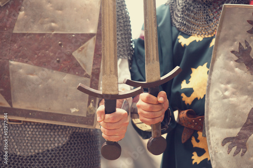 Fototapeta Two knights with swords and shilds