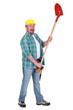 Happy man holding shovel