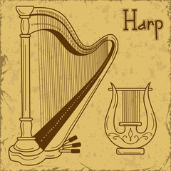 Illustration of isolated harp and lyre