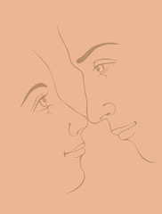 vector illustration of loving man and woman on  pink  background